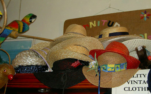 A rack of hats, ready for next summer