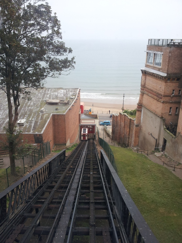 View to the beach from the top station
