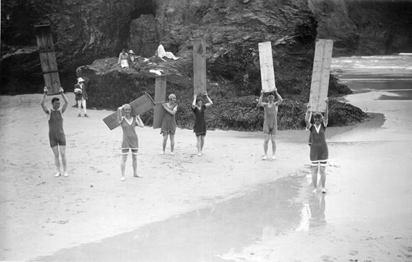 Surfers using coffin lids